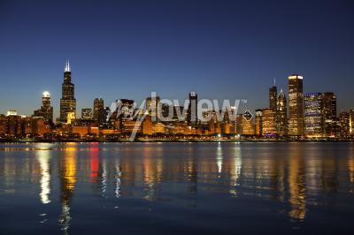 Fotomural Horizonte de Chicago al anochecer