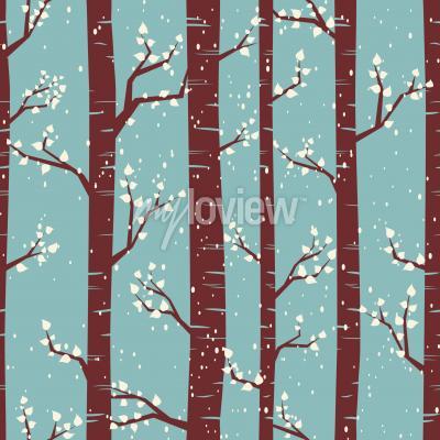 Fotomural Patrón de azulejos sin fisuras con abedules bajo las nevadas