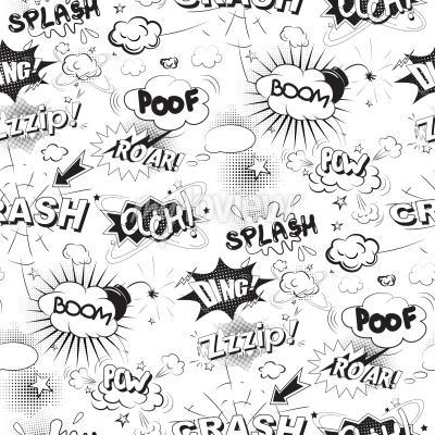 Fotomural Comic burbujas de discurso negro en estilo pop art patrón transparente