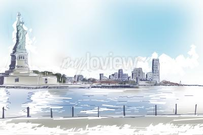 Cuadro Línea ejemplo del arte de la estatua de la libertad y New York City céntrica en un día soleado azul brillante. Concepto de viajes y turismo