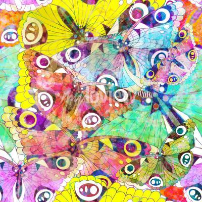 Cuadro Patrón sin fisuras con mariposas de colores