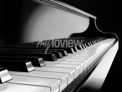 Cuadro Teclas de piano en piano negro