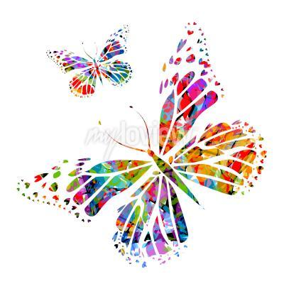 Fotomural Silueta, mariposa, manchas, pintura