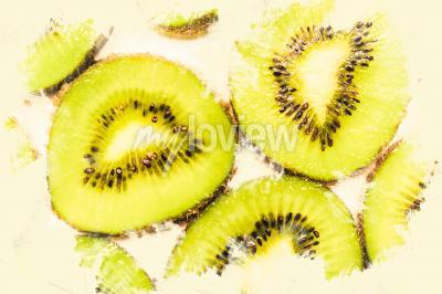 Cuadro Arte de la comida creativa en rodajas de kiwi