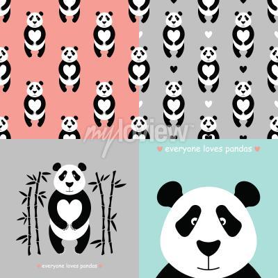 Fotomural Set de oso panda