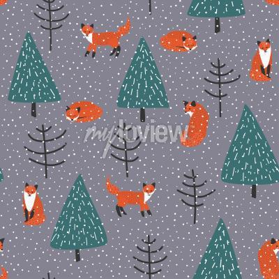 Cuadro Zorros en el bosque de invierno vector patrón transparente