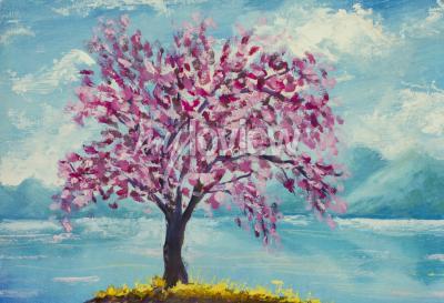 Cuadro Sakura floreciente en la pintura al óleo del agua