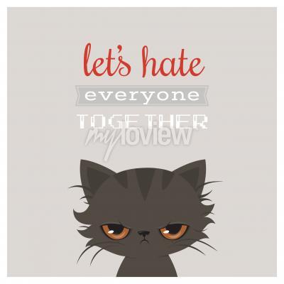 Póster Historieta enojada del gato