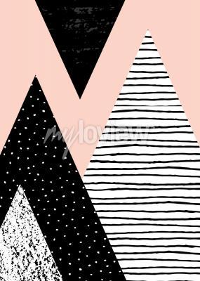 Fotomural Resumen composición geométrica en blanco negro y rosa pastel