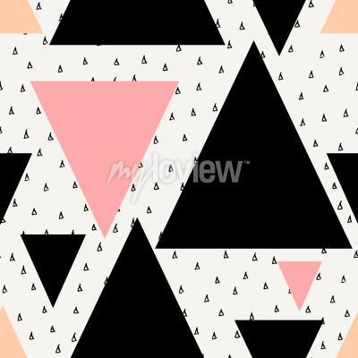 Fotomural Resumen patrón de repetición geométrica sin fisuras en negro crema pastel rosa y naranja