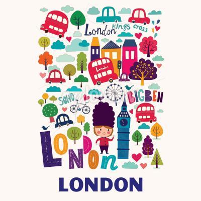 Fotomural Patrón con los símbolos de Londres