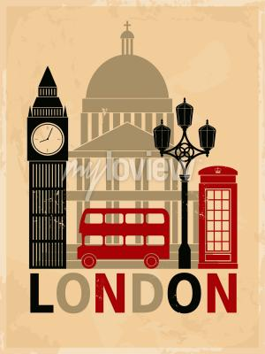 Póster Cartel retro del estilo con símbolos y señales de Londres