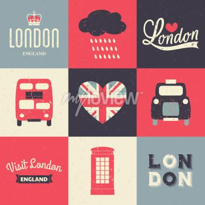 Póster Un conjunto de tarjetas de felicitación de estilo vintage con símbolos de Londres
