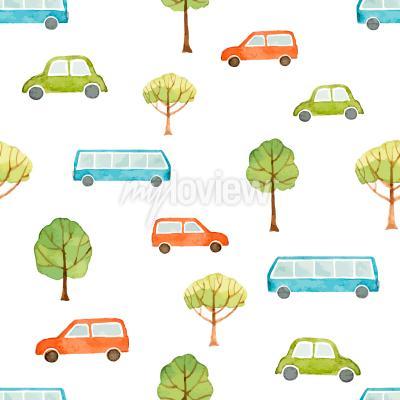 Fotomural Acuarela, seamless, patrón, coche, autobús, árboles