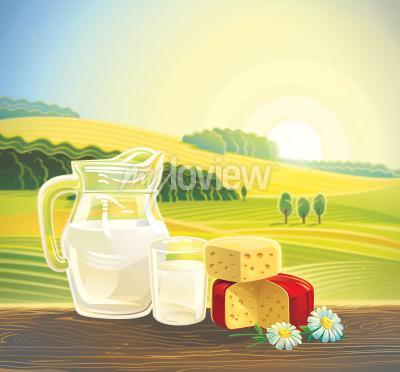 Póster Paisaje rural con un conjunto de productos lácteos