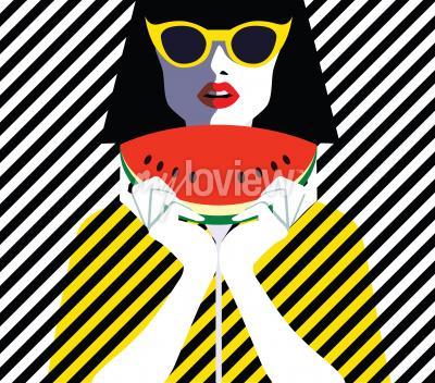 Cuadro Hermosa mujer joven con gafas de sol y sandía, estilo retro