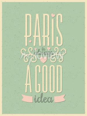 Fotomural Cartel de París de la tipografía del estilo del vintage