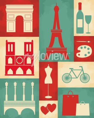 Fotomural Cartel retro del estilo con símbolos y señales de París