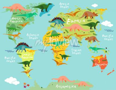 Fotomural Mapa de dinosaurios del mundo para niños y niños