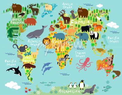 Fotomural Mapa de animales del mundo para niños y niños