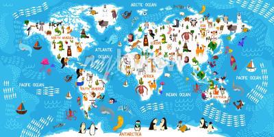 Fotomural Mapa mundial de animales de dibujos animados
