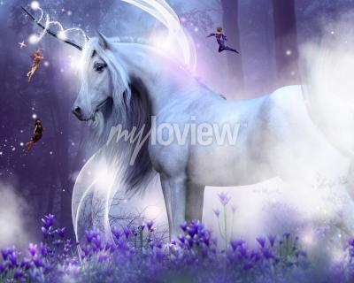 Fotomural Un majestuoso unicornio con tres pequeñas hadas que envían destellos mágicos