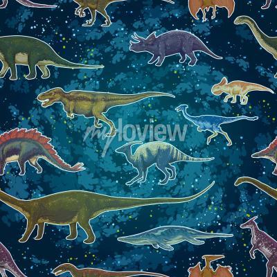 Fotomural Diplodocus Tyrannosaurus Rex Pterodactylus ... en patrones sin fisuras, dibujado a mano ilustración vectorial