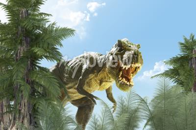Fotomural dinosaurio en el fondo de la selva render 3D