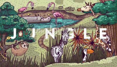 Fotomural Vida silvestre en la selva con diferentes animales