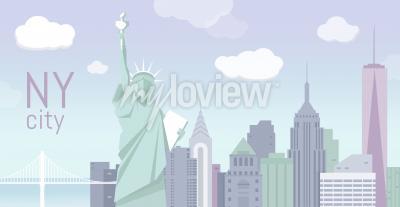 Vinilo Edificios y la Estatua de la Libertad