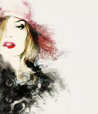 Cuadro Retrato de mujer estilo abstracto moda acuarela ilustración