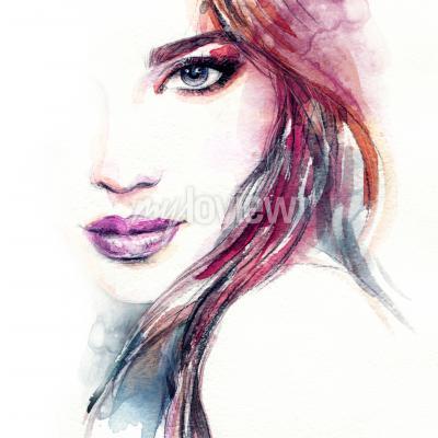 Póster Pintura de acuarela abstracta de la cara de la mujer