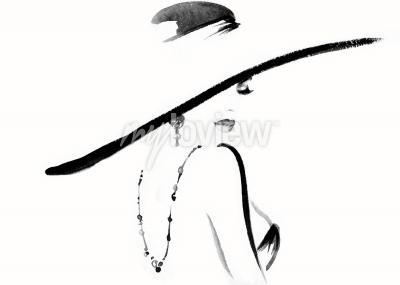 Cuadro Retrato de mujer con ilustración de moda de sombrero