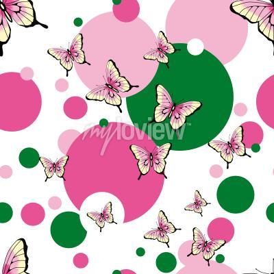 Fotomural Patrón de vector transparente de mariposas