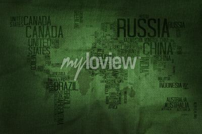 Fotomural Countries Name Typography World Map on Military Fabric Texture Background