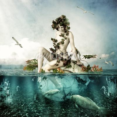Cuadro Mermaid underwater Beautiful woman seating on a shell in sea or ocean