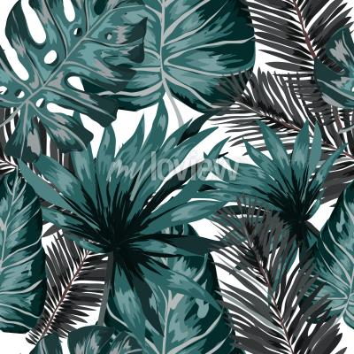 Fotomural Watercolor seamless pattern with tropical leaves palms monstera passion fruit