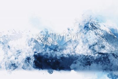Cuadro Abstract mountains in blue tone digital watercolor painting