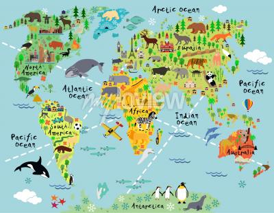 Vinilo Cartoon world map with landscape and animal