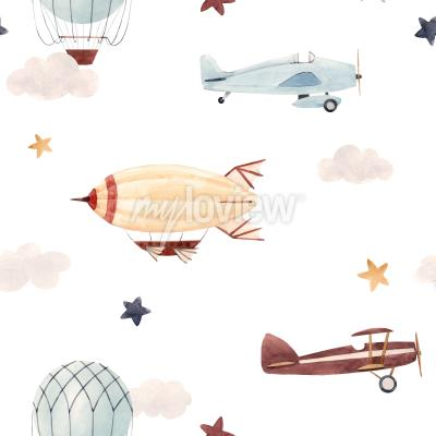 Vinilo Plane and cloud seamless pattern