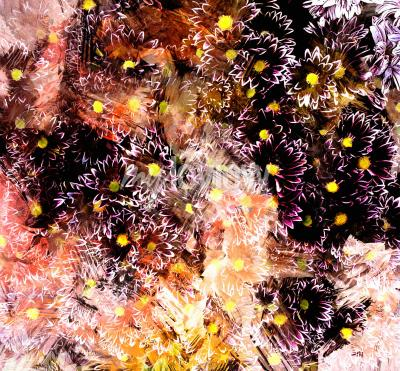 Cuadro Abstract floral composition with small chrysanthemums on grunge striped blurred background
