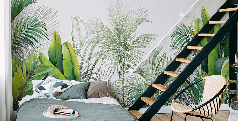 Fotomural hojas y palmeras