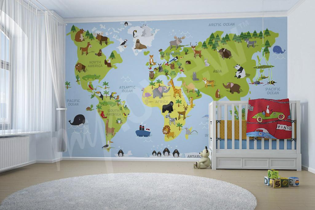 Fotomural mapamundi para niños