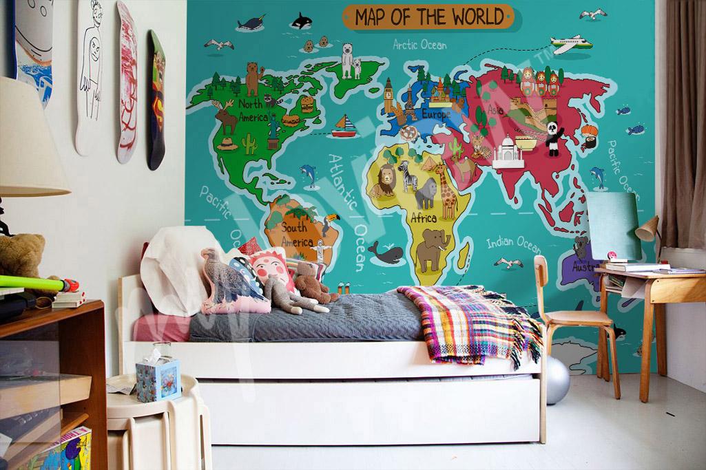 Fotomural mapamundi para niños pequeños
