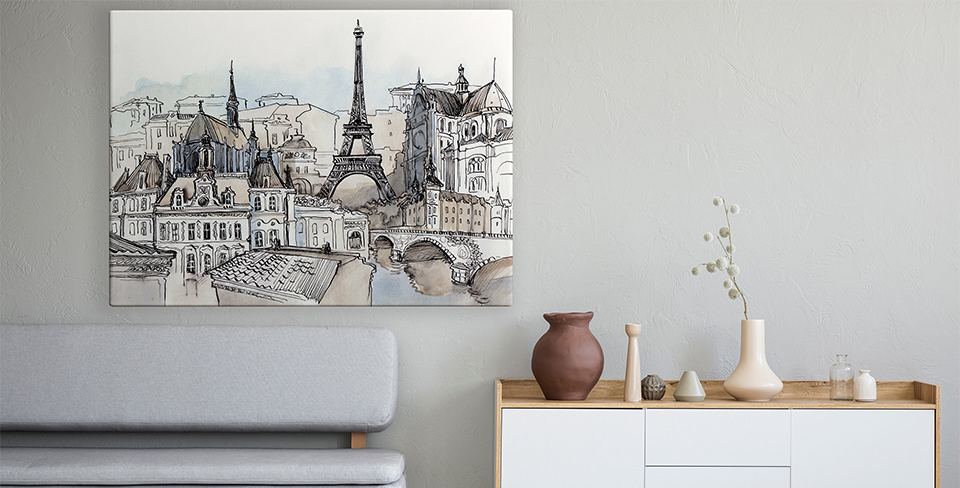 Póster panorama de París
