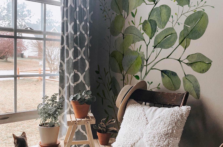 Vinilo hojas de eucalipto