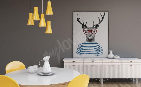 Poster de ciervo con gafas