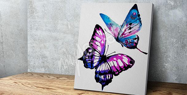Cuadro acuarela con mariposas