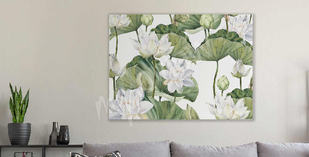 Cuadro acuarela flor de loto