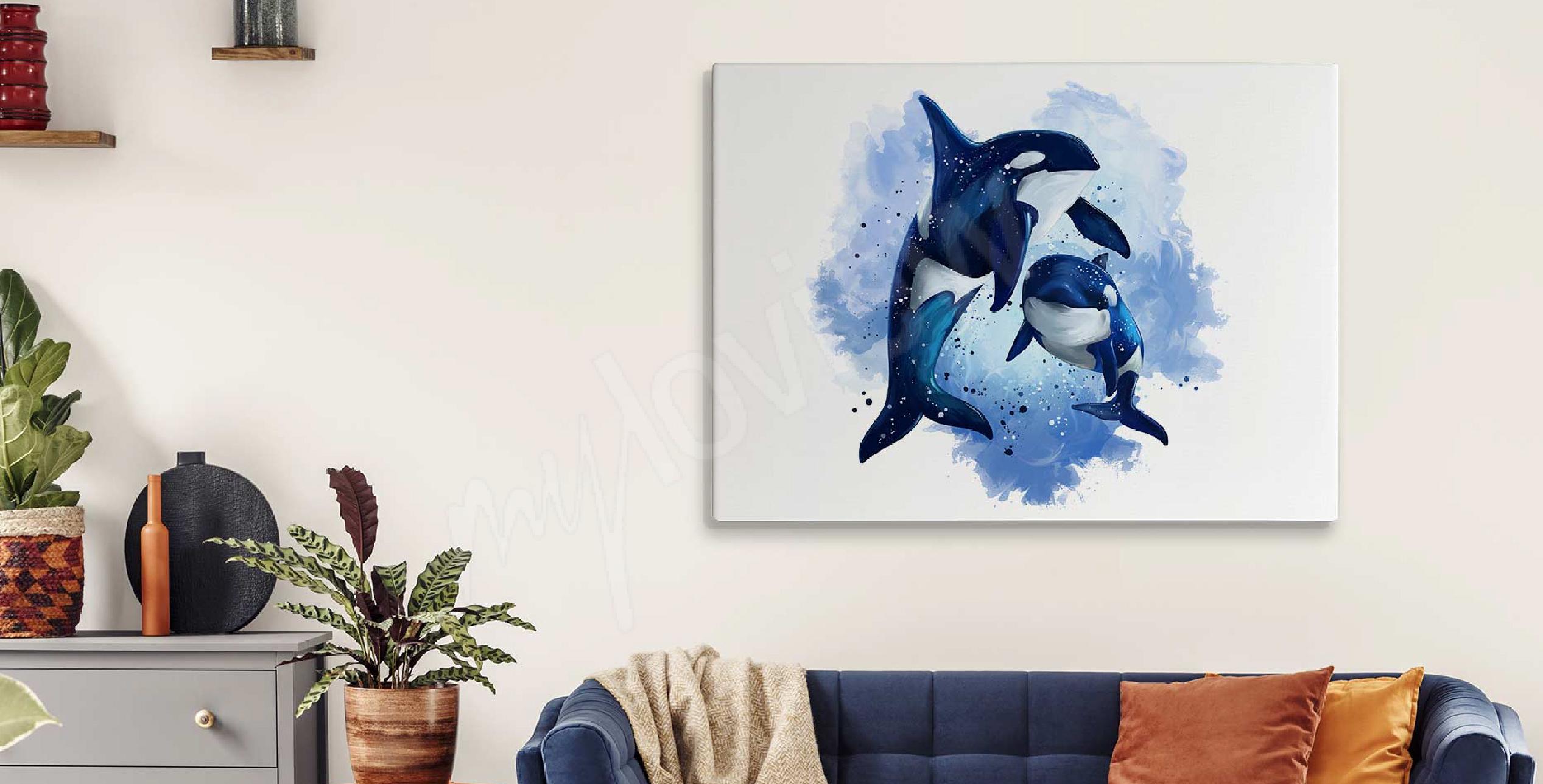 Cuadro acuarela y delfines